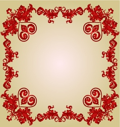 Valentines hearts frame Greeting and floral orname vector image