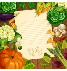 Vegetables recipe or message note blank vector