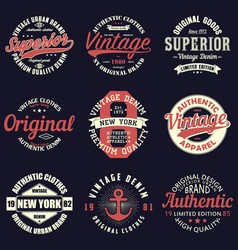 vintage t-shirtl set vector image