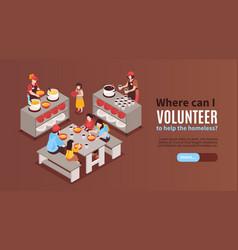 Volunteer isometric horizontal banner vector