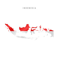 Waving flag map indonesia vector