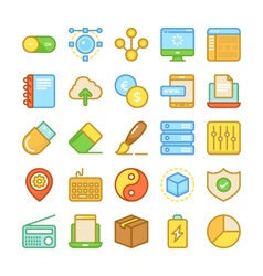 Web Design and Development Colored Icons 5 vector
