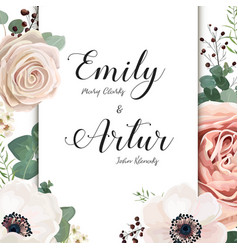 Wedding floral invite card design with rose flower vector