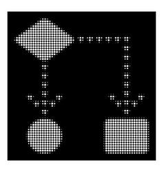 White halftone algorithm flowchart icon vector
