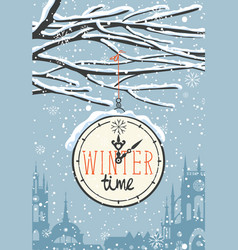 winter banner with snow-covered branches and clock vector image