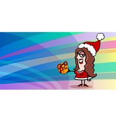 woman santa claus greeting card vector image