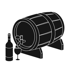 Wooden wine barrel icon in black style isolated on vector