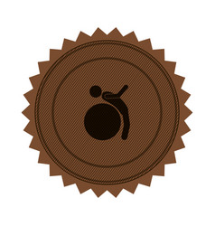 brown circular seal with training in gym ball vector image vector image