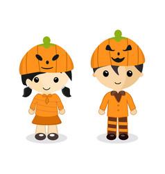 couple standing wear a pumpkin hat on halloween vector image