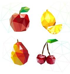 Set of juicy fruit polygon Apple lemon cherry an vector image vector image