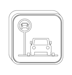 silhouette button parking area for vehicles vector image