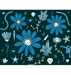 Skull flowers dark pattern vector image