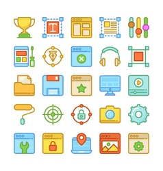 Web Design and Development Colored Icons 6 vector image