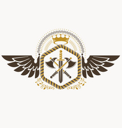 classy emblem made with eagle wings decoration vector image vector image