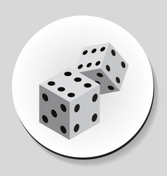 dice sticker icon flat style vector image vector image
