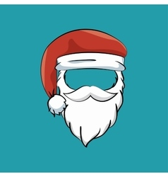 mustache beard hat santa claus vector image