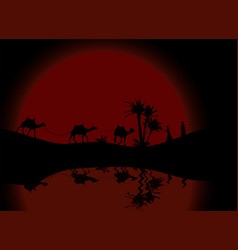reflection in water silhouette of caravan mit vector image