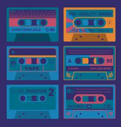 retro audio cassettes set 2 vector image