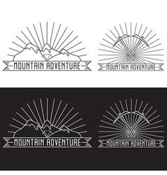 set of vintage line craft labels mountain vector image vector image