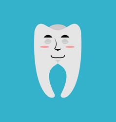 Tooth sleeping emoji teeth asleep emotion isolated vector