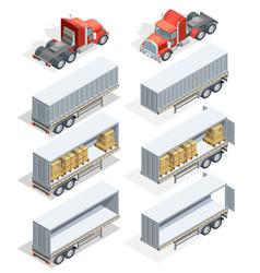 truck isometric icon set vector image