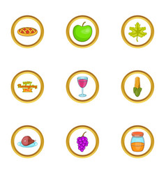 autumn party icons set cartoon style vector image vector image