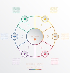 Circle from 6 coloured lines vector image vector image