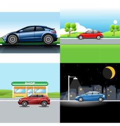 Digital red and blue auto car icon set vector image vector image