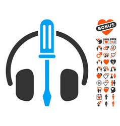 headphones tuning screwdriver icon with valentine vector image