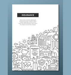 insurance - line design brochure poster template vector image