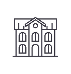 school building line icon sign vector image