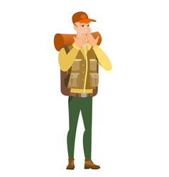 Shoked caucasian traveler covering mouth vector