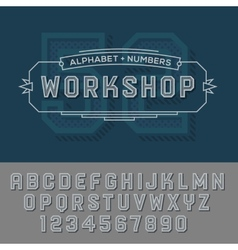Alphabet numbers retro colour style vector image