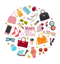 collection of fashion accessories women things vector image vector image