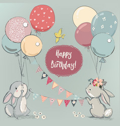 cute hares with balloons vector image vector image