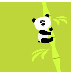 Cute panda on bamboo Baby Green background Flat vector image vector image
