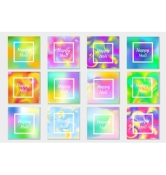 Happy Holi festival in India set greeting card vector image vector image
