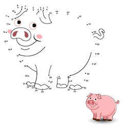 Pig Connect the dots and color vector image