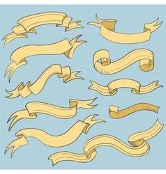 Vintage ribbon banners hand drawn vector image