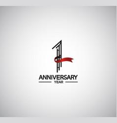 1 year anniversary logotype flat design vector