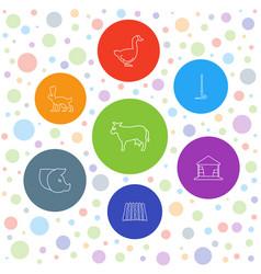 7 farm icons vector