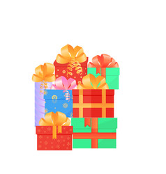 a set festive boxes with gifts tied with satin vector image