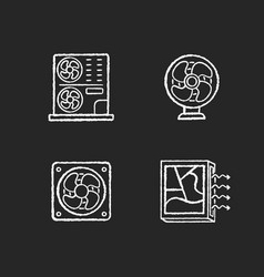 Air cooling chalk white icons set on black vector
