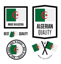 Algeria quality label set for goods vector