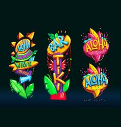 aloha beach pillar set vector image