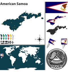 American Samoa map world vector