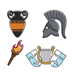 Ancient greek culture symbols isolated cartoon vector