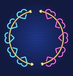 arrow and heart wreath simple luminous neon vector image