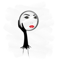 Beautiful woman face reflaction in a round vector