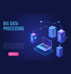 big data processing and analysing landing page vector image